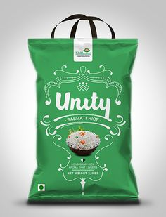 Unity Basmati Rice Packaging Design / food. By Aditya Chakravarty. Wonderful use of handles on this bag of rice!