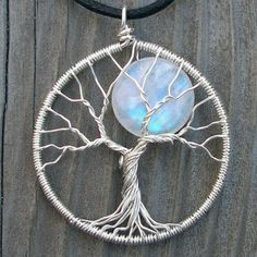 Tree and moon wire pendant