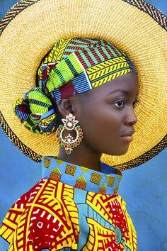 Always Forward - - African girl in bright colorful headwrap and hat. African Girl, African Beauty, African Women, African Style, African Design, African Fashion Ankara, African Inspired Fashion, Africa Fashion, Asian Fashion