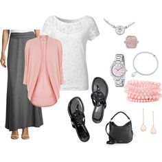 Pink and Gray For Spring by katieny on Polyvore featuring Oasis, Alice & You, Neiman Marcus, Tory Burch, Kate Spade, Tiffany & Co., FOSSIL and Kendra Scott