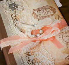 Wedding guest book  Peach and cream in by youruniquescrapbook, £83.95