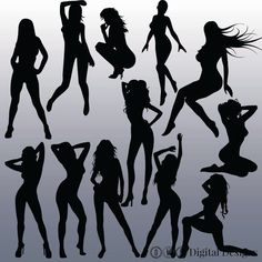 12 Sexy Silhouettes Images Digital Clipart by OMGDIGITALDESIGNS