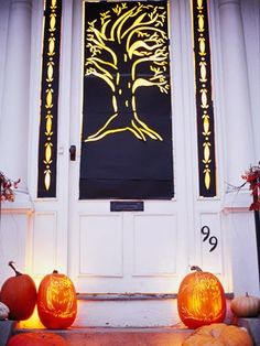 """the address makes me think about putting up a fake """"666"""" for mine.  40 Easy and Creative Outdoor Halloween Ideas"""