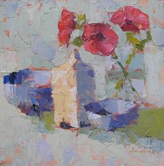 """Anemonies with Blues by Carol Maguire Oil ~ 12"""" x 12"""""""