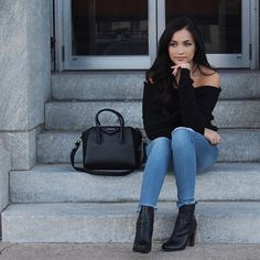 Off the shoulder sweater. Distressed denim. Black ankle boots. Givenchy Antigona.
