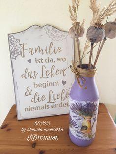 Mit OutdoorDecor Lavendel gemischt mit Strukturgel (alles  GONIS Produkte) plus Serviettentechnik wurde diese Milchflasche zur dekorativen Vase umgestaltet.