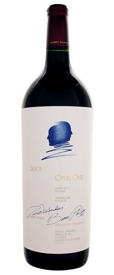 2003 Opus One Napa Valley - A blend of cabernet sauvignon, merlot, petit verdot, cabernet franc and malbec, this is an age-worthy gem for any serious collector's cellar. Launched in 1984 with the dual release of the 1979 and 1980 vintages, this joint venture between Robert Mondavi and the Baron Philippe de Rothschild of Bordeaux's Mouton-Rothschild, is one of the best Napa wines.