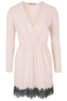 **Lace Hem Wrap Dress by Love - Topshop