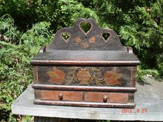 """Antique 1700s Lancaster Co, Pennsylvania Paint Decorated Tulips & """"Hearts"""" Candle Box ...~♥~"""