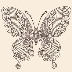 Mano mariposa Henna Mehndi Paisley Doodle elemento de dise o de la ilustraci n del Vector de contorn Foto de archivo