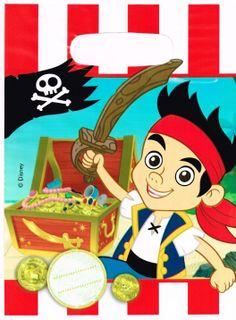 Foliowe, ozdobne torebki na drobne upominki dla gości Twojego dziecka. Urodziny z motywem z baki Jake i piraci z Nibylandii.
