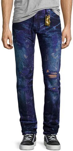 Robin's Jean Bleached & Distressed Zipper Jeans, Dark Purple