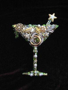 CJ Borden. Holiday Spirits Martini Glass Vintage Jewelry Wall Art by ArtCreationsByCJ.  Please contact me if interested in a custom piece.