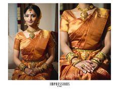 South Indian bride. Temple jewelry. Jhumkis.Silk kanchipuram sari.Braid with fresh flowers. Tamil bride. Telugu bride. Kannada bride. Hindu bride. Malayalee bride.