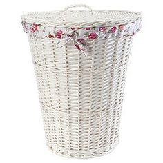 White Wicker Laundry Basket With Fl Lining Baskets