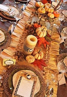 Love this great fall tablescape, runner, place setting.