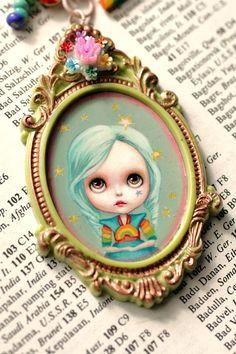 Rainbow Brite -  Blythe Love -  original cameo necklace by Mab Graves