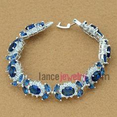 Elegant blue color zirconia beads deocrated bracelet