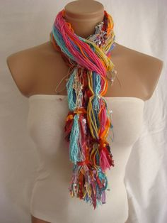 Fringe Scarf Knotted Scarf The Colors of Dreams from Arzus on Etsy. Shop more products from Arzus on Etsy on Wanelo. No Sew Scarf, Scarf Knots, Diy Scarf, Scarf Ideas, Altered Couture, Fringe Scarf, Diy Fashion, How To Make, How To Wear