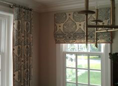 idea of curtains on front windows and shades/blinds on windows facing neighbors (i., those on each side of fireplace) Curtain Fabric, Drapes Curtains, Curtain Trim, Window Drapes, Linen Fabric, Custom Drapes, Custom Window Treatments, Shades Blinds, Window Dressings