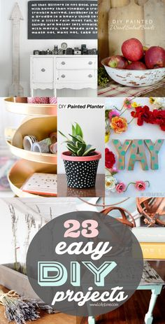 23 easy DIY projects (you can complete in a day!)  Love all of these! #diy #decor Creative Crafts, Easy Crafts, Home Crafts, Diy Home Decor, Do It Yourself Crafts, Project Yourself, Diy Wall Art, Diy Art, Mach Dein Ding