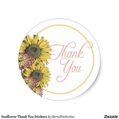 Sunflower Thank You Stickers