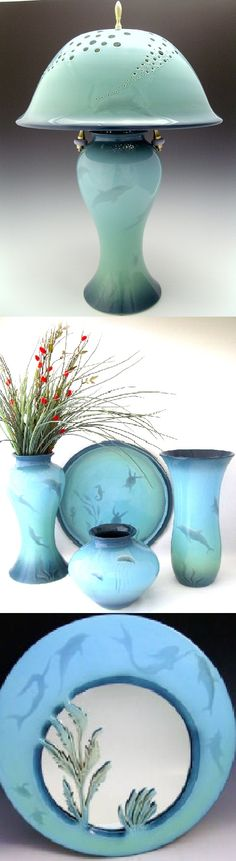 """029. Gary Wilson: """"The underwater world is special. Shades of blue & green blend with the natural sunlight that filters down. The graceful dance of sea life ebbs & flows as shadowy silhouettes. I aspire to capture this visual impression on each of my wheel thrown pots by blending together five different air brushed & sprayed glazes on each piece. My mission is to create art, inspired by the incredible sea life in our oceans, that will motivate people to protect & conserve this fragile…"""