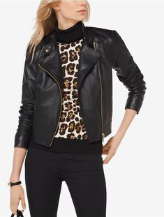 313fa014f14d Michael Kors Womens Leather Jacket Size small  fashion  clothing  shoes   accessories