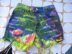 High Waisted Button Fly Levi Cut off Tie Dyed Hot Pink by tessimal, $32.00
