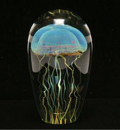 Rick Satava glass paperweight with jellyfish, 2001.