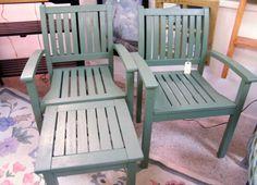 dark sage teak chairs and table $225