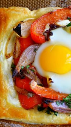 Red Pepper and Baked Egg Galettes ~ Impressive but SUPER EASY to put together with frozen puff pastry