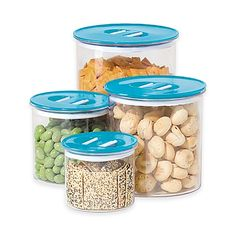 Oggi™ 4-Piece Round Stack-N-Store Canister Set in Aqua -- $19.99.... also comes in Red and White