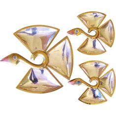 Vintage Los Castillo 3 Hand-wrought Modernist Bird Trays Dishes at Jen-n-l Vintage Jewels on RubyLane.com