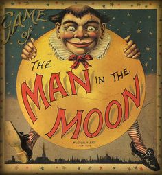 Antique vintage anthropomorphic moon face image: Game of the Man in the Moon