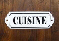 Plaque émaillée Cuisine, french vintage, plaque de porte, plaque ancienne, identification de pièce, décoration étro de la boutique sofrenchvintage sur Etsy