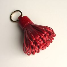 Tassel keychain / tassel keyring in red calfskin by RinartsAtelier on Etsy