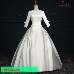 Melice Romantic Scoop Neck Lace Up Ball Gown Wedding Dresses 2017 Elegant Satin Long Sleeves Bow Bride Robe De Mariage Plus Size