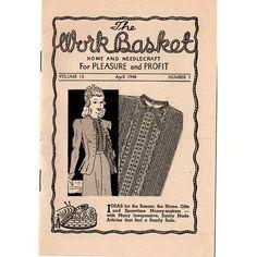 Vintage WorkBasket Magazine April 1948 Volume 13 No 7 Crocheted Picot Cluster…
