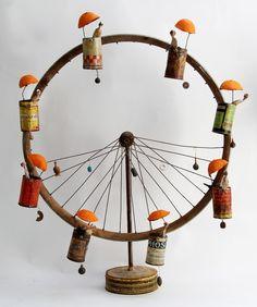 Gérard Cambon mixed media assemblage art sculpture the ferris wheel Found Object Art, Arte Popular, Assemblage Art, Recycled Art, Recycled Clothing, Recycled Fashion, Wire Art, Art Plastique, Metal Art