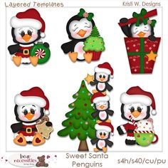 Sweet Santa Christmas Penguins PSD Templates by by marlodeedesigns, $5.00