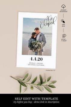 Congrats, you made it official! Simple elopement announcement template with instant access for you to self edit (no software download required!) DIY print on your own or send to our preferred printing partner.