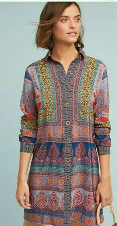Casablanca Silk Shirtdress, presented by Anthropologie. Bring the fun back into office attire with this silk shirtdress - its cheerful print will keep you smiling. Hippie Dresses, Boho Dress, Silk Dress, Boho Outfits, New Outfits, Fashion Outfits, Office Attire, Casablanca, Boho Fashion