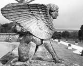 Black and White Photograph of Sphinx Statue, Monochromatic art photography, Wall Art.