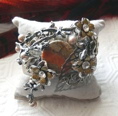 One of a Kind Silver Brass Jasper Crystal and Pearl by bijoullery
