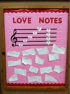 Valentine's Day bulletin board - Line and space notes!