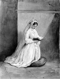 Girl in Confirmation Dress at Prayer, Charles Chaplin, ca. 1860; WAM 37.1325