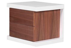 Hite Nightstand, White/Walnut on OneKingsLane.com Pangea Home seen for $299 and more...love the white on walnut look. other options out there?