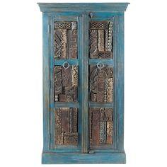 Armario de madera reciclada azul efecto envejecido An. 84 cm Jodhpur