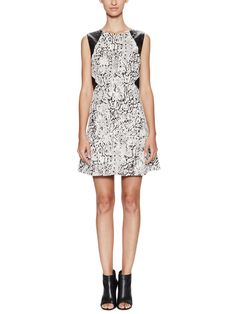 Cotton Graphic Faux-Leather Trim Dress by W118 by Walter Baker at Gilt